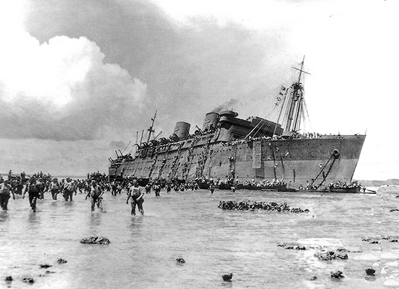 SS President Coolidge Aground